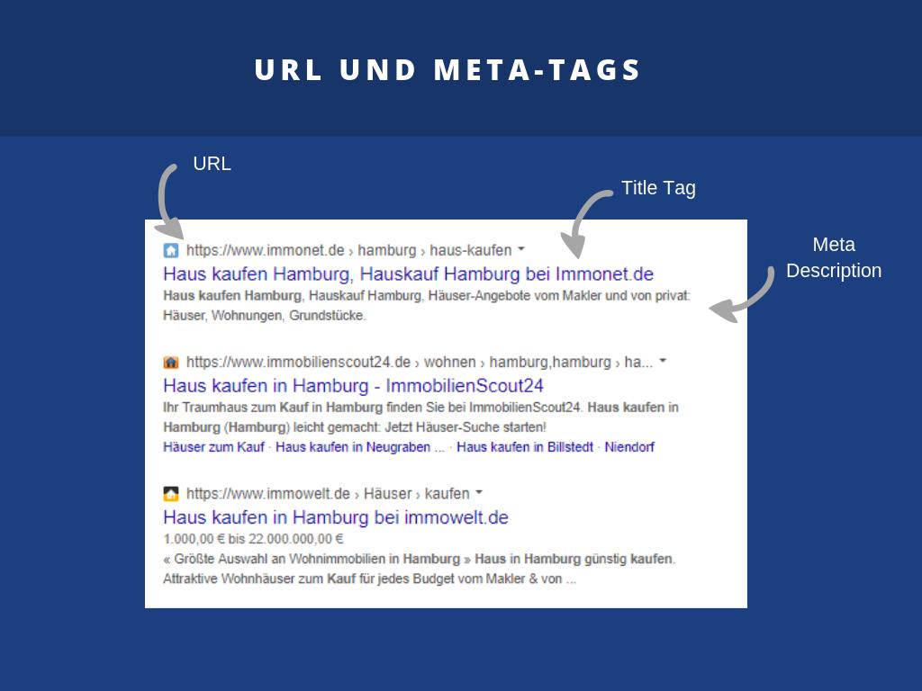 Zusammensetzung des Suchergebnisses bei Google aus URL, Title-Tag und Meta Description